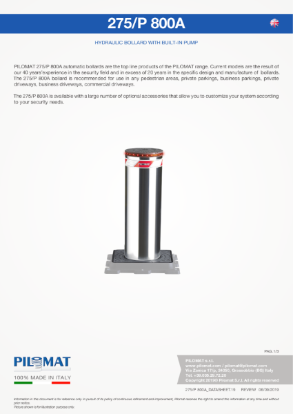 Macs 275/P800 Automatic Bollard Data Sheet