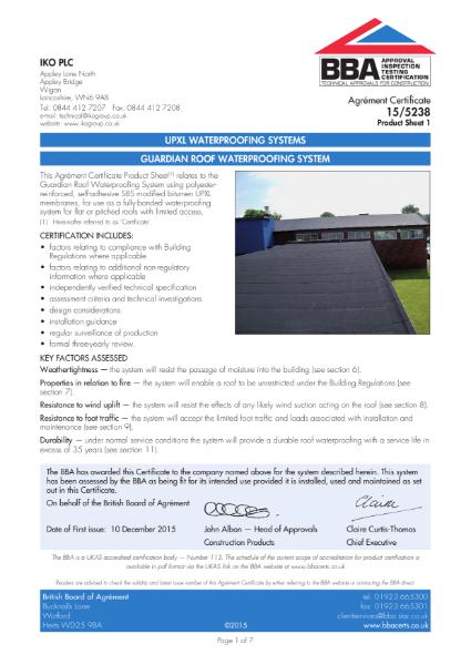 15/5238_1 Guardian Roof Waterproofing System