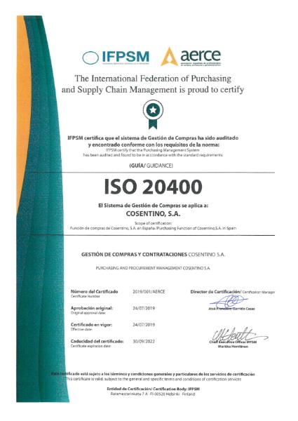 Certificado ISO20400