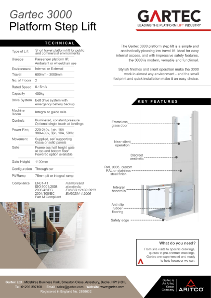 Gartec 3000 Platform StepLift Information Sheet