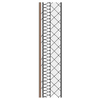 Cement bonded particleboard panel with metal frame, weather barrier, particleboard insulation, concrete block and plaster lining