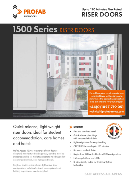 Profab VEGA 1500 Series Riser Door Fire Rated Technical Data Sheet