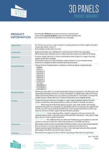 3D Panels - Technical Data Sheet