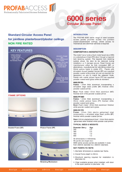 Profab 6000 Series Circular Ceiling Access Panel Non-Fire Rated