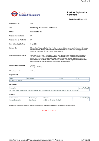 AATi certificate for product ref: SN293/WL/84