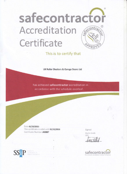 Safety Contractor Certificate