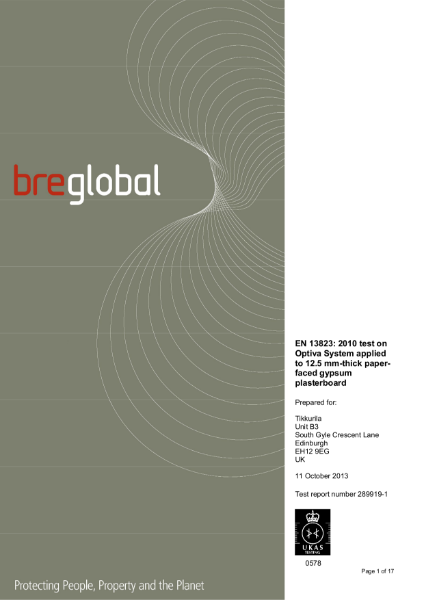 BRE GLOBAL - OPTIVA 5 PLASTERBOARD