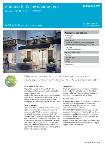 Automatic Sliding Security Door - ASSA ABLOY Protect RC2