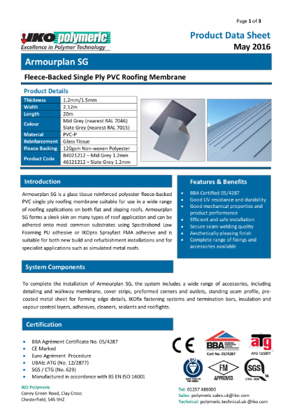 IKO Armourplan SG PVC single ply roofing membrane datasheet