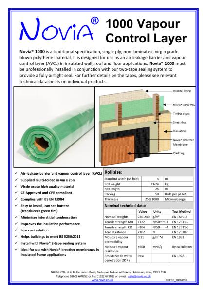 Novia 1000 Gauge Polythene Vapour Control Layer