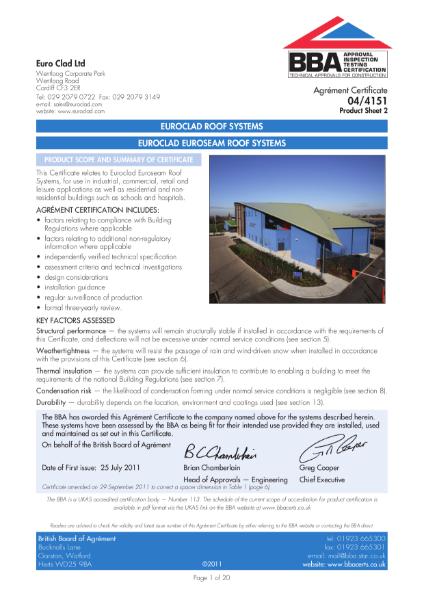 04/4151 Euroclad Euroseam Roof Systems