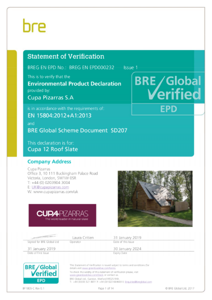 BRE Global Verified (EPD) – CUPA 12