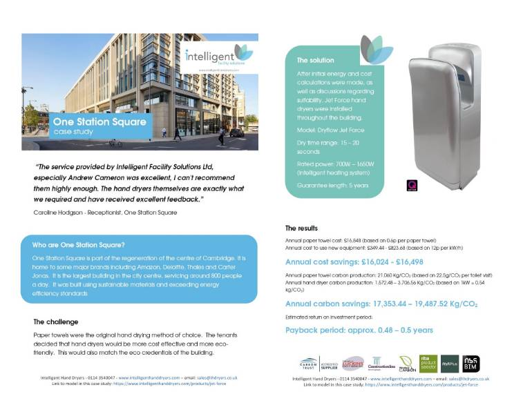 Hand Dryer Case Study (Large office complex) - One Station Square, Cambridge