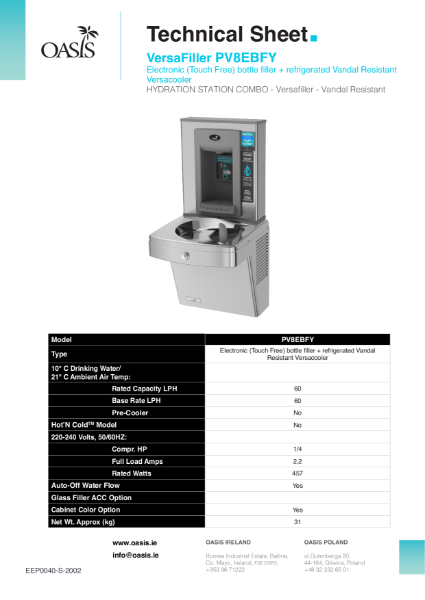 PV8EBFY Vandal Resistant Wall Mounted Drinking Fountain And Bottle Filler.