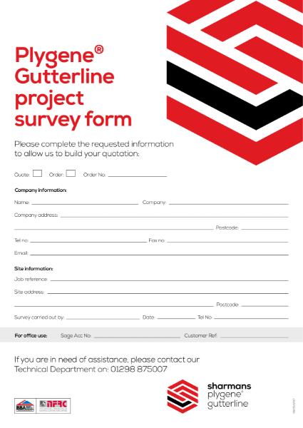 Plygene Gutterline system project survey form