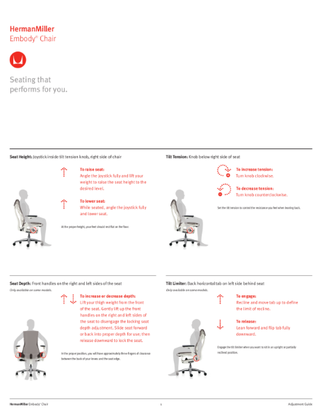 Embody Chairs - Adjustment Guide