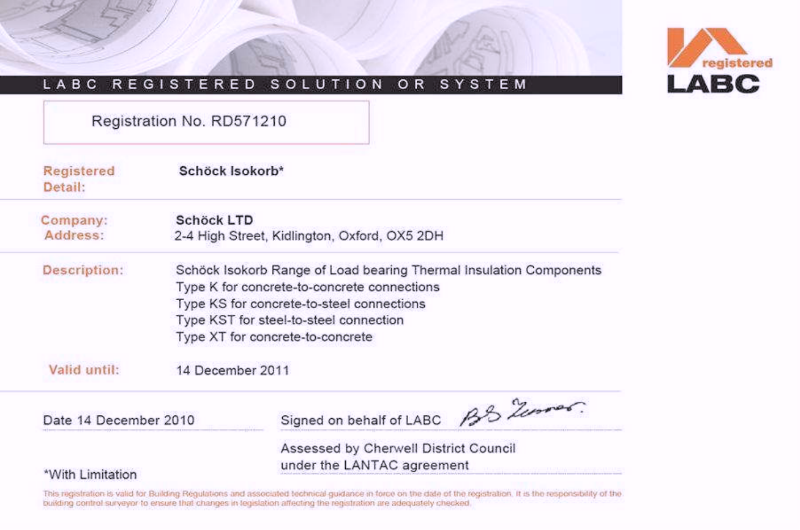 12/5741 LABC registered - Schock Isokorb Range of Load bearing Thermal Insulation Components