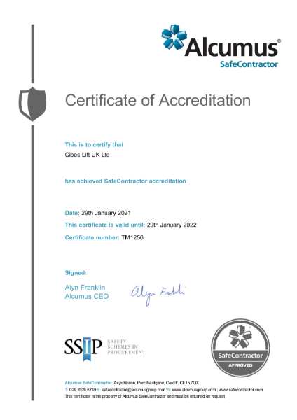 Alcumus Safe Contractor Certificate of Accreditation