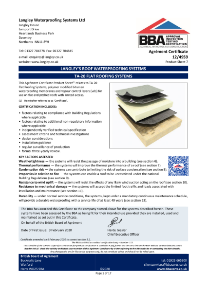 12/4959_7 TA-20 FLAT ROOFING SYSTEMS
