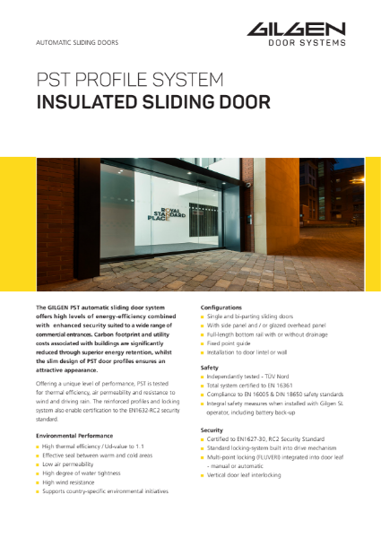 Gilgen PST Thermally Insulated Sliding Door