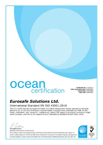 EN ISO 45001:2018 Certificate