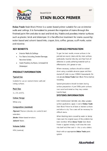 Dulux Trade Stain Block Primer