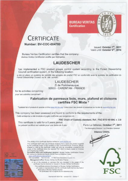 Lauderscher FSC Certificate