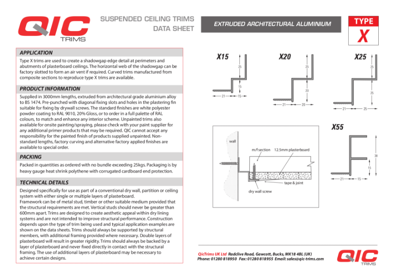 QIC Shadow-gap perimeter trims plasterboard MF ceilings