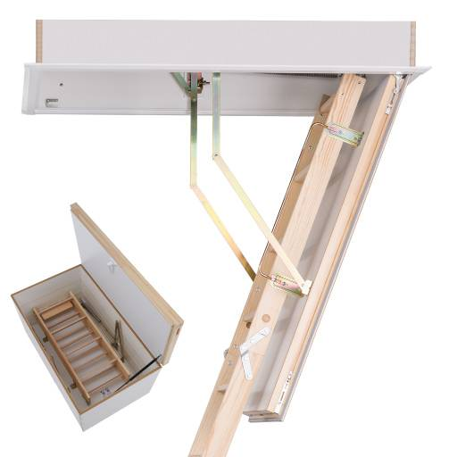 New Product - Quadro DD wooden loft ladder with secondary upper loft hatch. Premier Loft Ladders