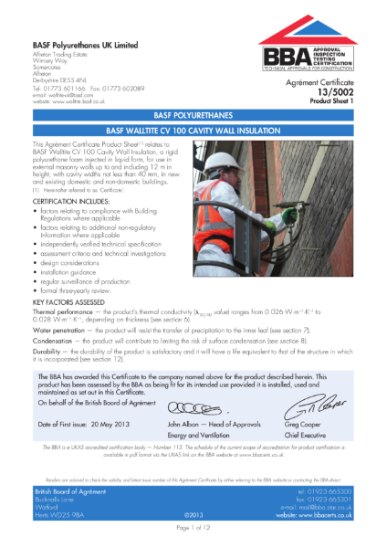 13/5002_1 BASF WALLTITE CV 100 CAVITY WALL INSULATION