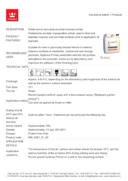 Hydrosol Masonry Primer TDS