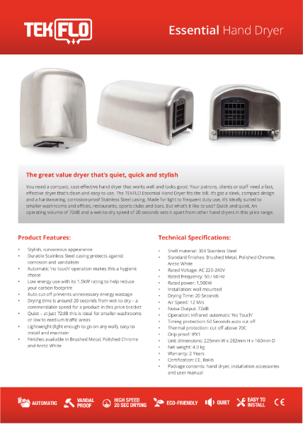 Tekflo Essential Hand Dryer - Technical Specifications