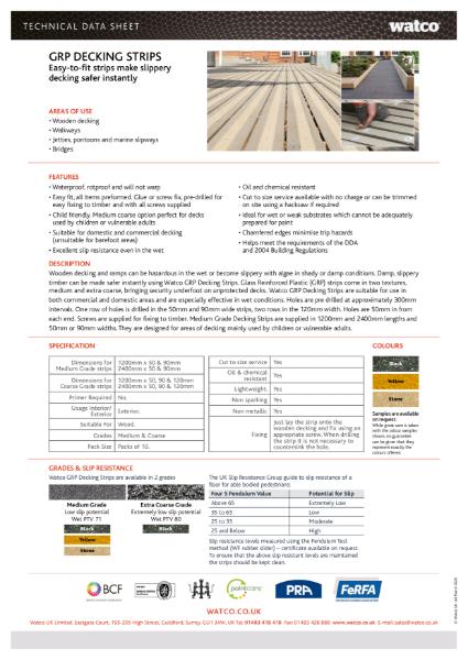 Data Sheet: GRP Decking Strips