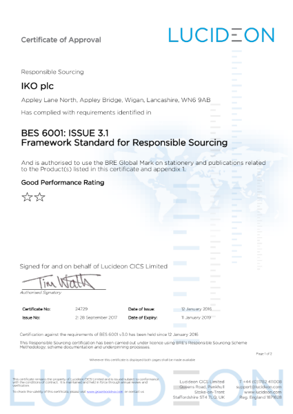 BES 6001 Certificate (Appley Bridge)