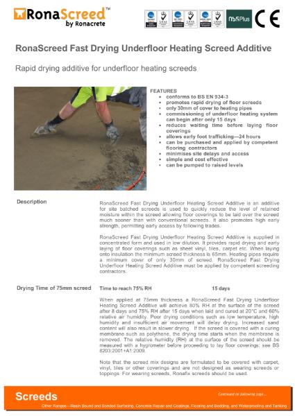 RonaScreed Fast Drying Underfloor Heating Screed Additive