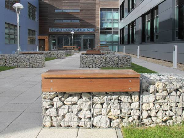 Gabion seat platforms for Begbroke Science Park, Oxford