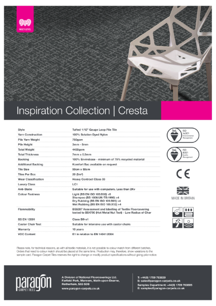 Paragon Carpet Tiles - Inspiration Collection - Cresta - Specification Information
