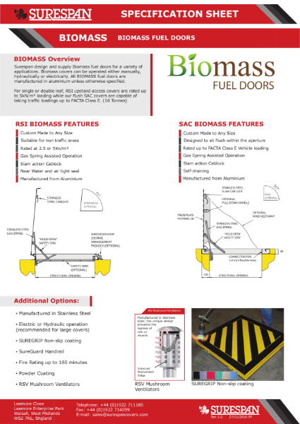 Floor Door access cover for Biomass fuel pits and plant rooms