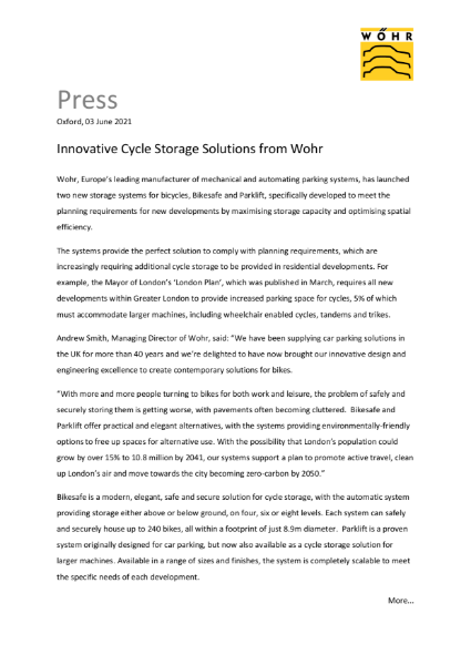 Innovative Cycle Storage Solutions from Wohr