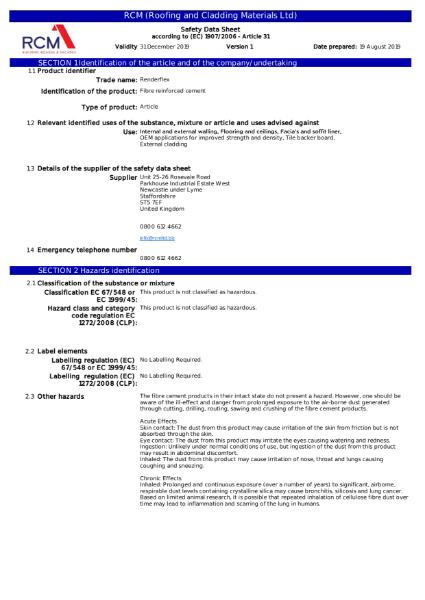 Material Safety Data Sheet - Renderflex