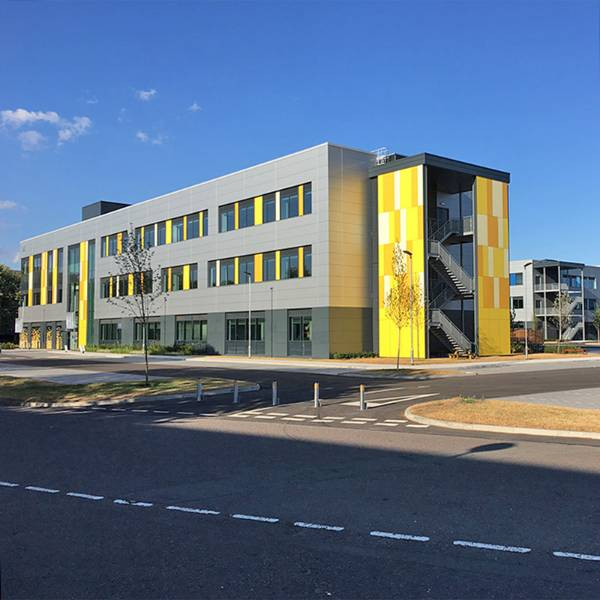 balustrade infill panels, open mesh flooring, stair treads and louvred screening at Milton Park: new workspaces for the science & technology sector