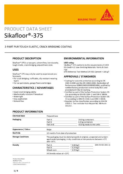 Sikafloor 375 crack-bridging coat
