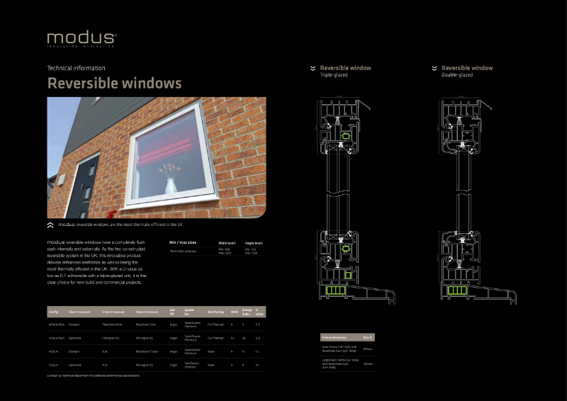 Modus Reversible Windows Technical Information