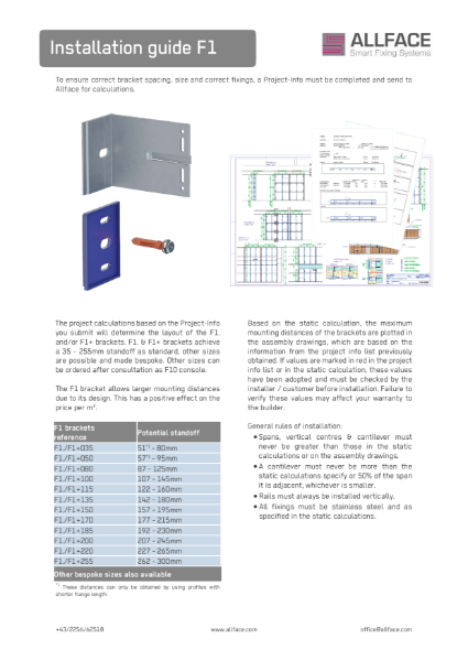 Allface Installation Guide F1