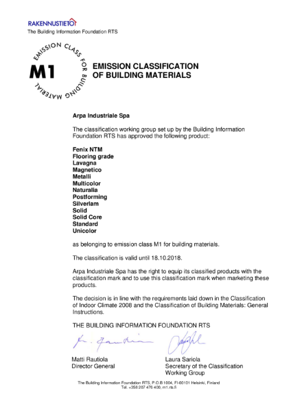 Emission Classification of Building Materials Certificate