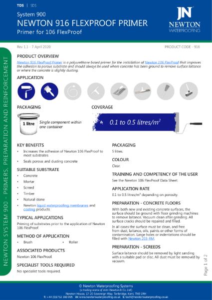Newton 916 FlexProof Primer Data Sheet