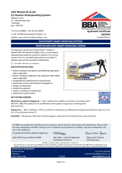 18/5497 Newton 804-DPC-Damp-Proofing Cream (Product Sheet 2)