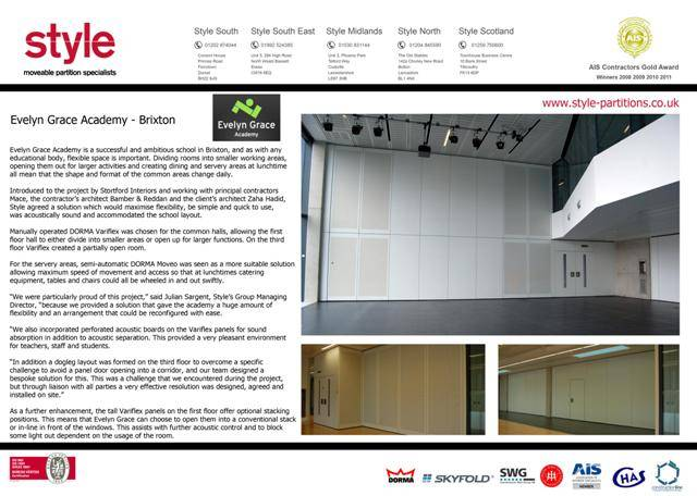 Evelyn Grace Academy Case Study reflecting a typical education project undertaken and completed by Style using the Dorma Moveo and Variflex products