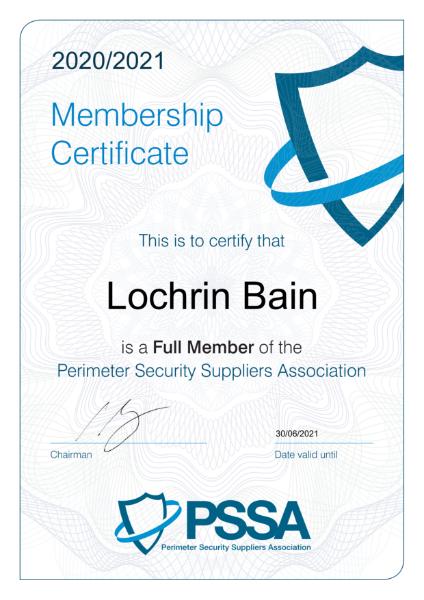 PSSA Membership Certificate 20-21