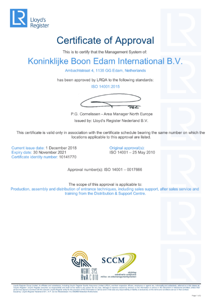 ISO 14001:2015 Certificate of Approval